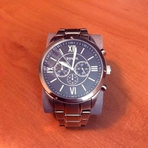 Men's NWT Fossil Watch Gold Link Band Black Face